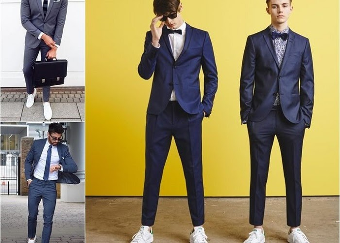 Quần tây + giày thể thao + bộ suit