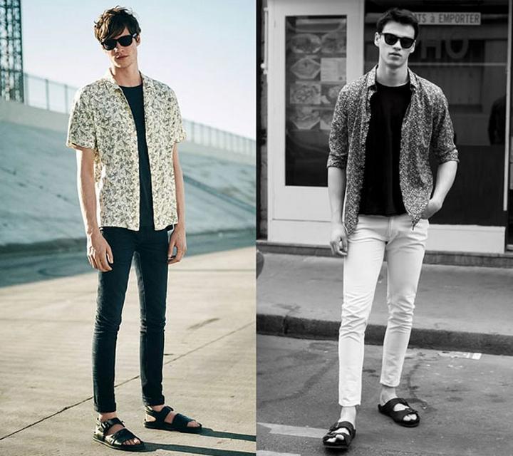 Giày sandal nam + quần jean xắn gấu, áo phông nam